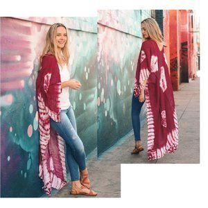 Maroon Tie Dye Caftan Long Kimono Wrap